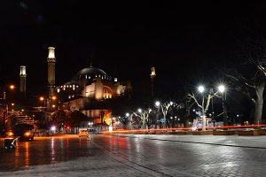 ISTANBUL - MARCH 24: Hagia Sophia in the evening, Istanbul, Turkey