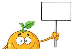 Orange Fruit Holding A Blank Sign