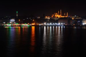 Istanbul Turkey at night - architecture travel background