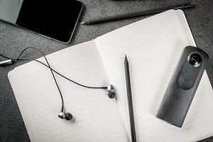 Black desktop with appliances