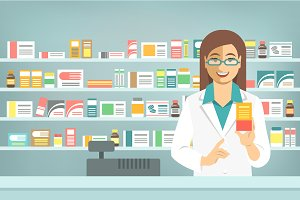Pharmacist with Medicine in Pharmacy