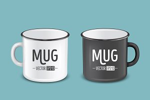 Vector enamel metal mug set.