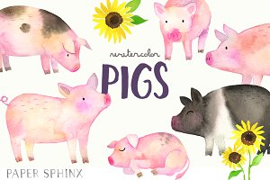 Watercolor Pigs Clipart Pack