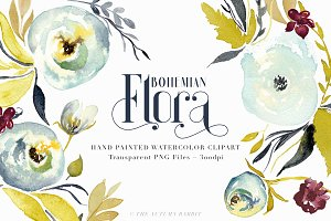 Bohemian Flora - Watercolor Clipart