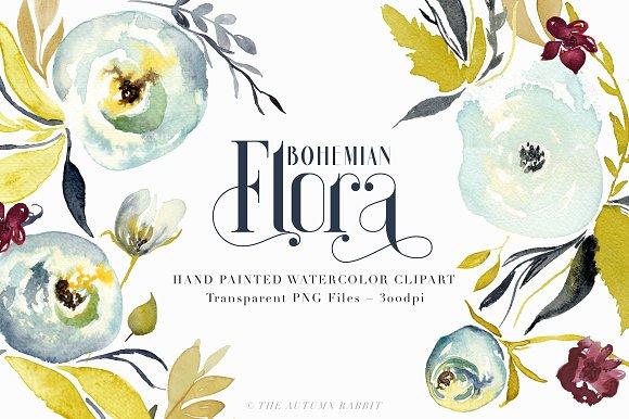 Bohemian Flora Watercolor Clipart