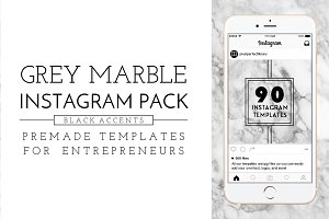 Grey Marble and Black Instagram Pack
