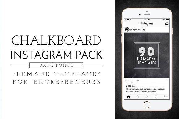 Dark Chalkboard Instagram Pack ~ Instagram Templates ~ Creative Market
