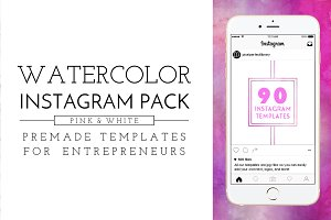 Pink Watercolor Instagram Pack