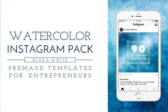 Blue Watercolor Instagram Pack