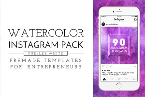 Purple Watercolor Instagram Pack