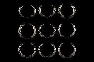 Vector gold award wreaths, laurel