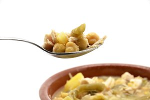 spoonful of stewed chickpeas