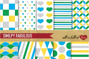 Boy Scrapbook Background Paper Pack