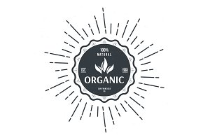 vintage style label for organic food