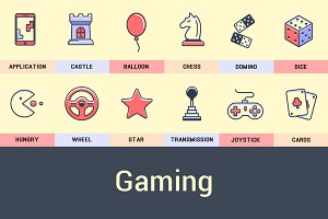 Set of Game Icons Into Flat Style.