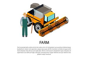 Farmer with a Pitchfork near Harvesting Car