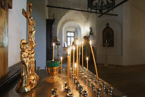 Candles inside an Orthodox church
