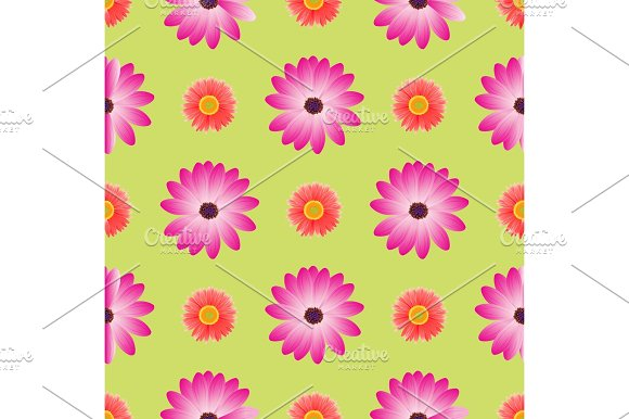 Seamless Pattern With Dahila Blossom Isolated