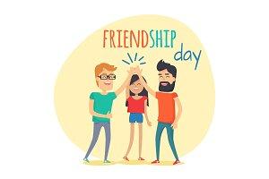 Best Friends Spend Fun Time. Friendship Day Flat