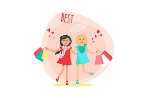 Happy Girls with Shopping Bags. Friends Forever