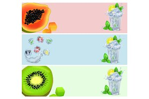 Set of Banners with Tropical Fruits in Ice Cubes