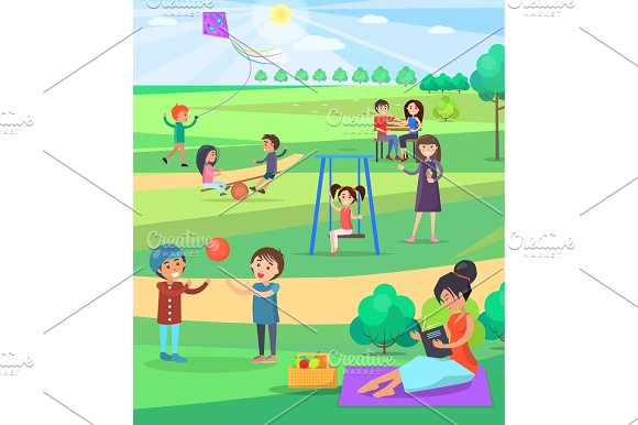 People Relaxing Outdoor In Park Colorful Poster