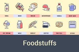 Foodstuffs, Flat Icon Set.