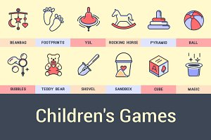 Kids Games Icons.