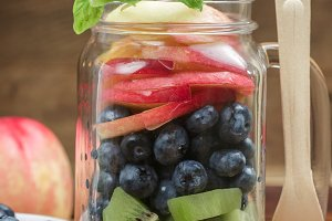 Fruit salad in a Mason jar