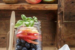 Fruit salad in a Mason jar