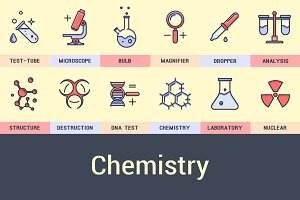 Set of chemical icons