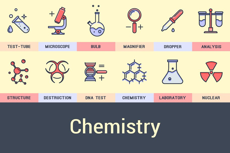 150+ Science Colored Icons ~ Icons ~ Creative Market