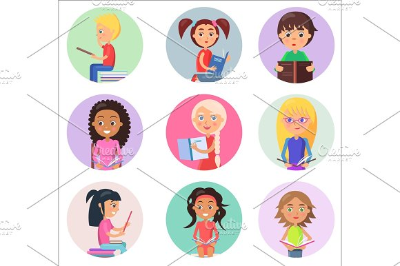 Reading Children in Round Icons Isolated on White