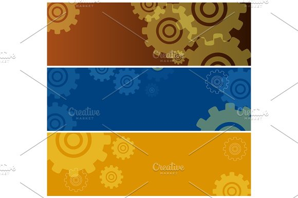 Set Of Colorful Posters With Gear Icons Isolated