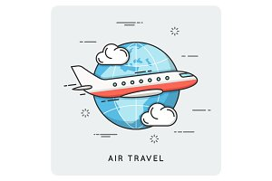 Air travel. Thin line concept.