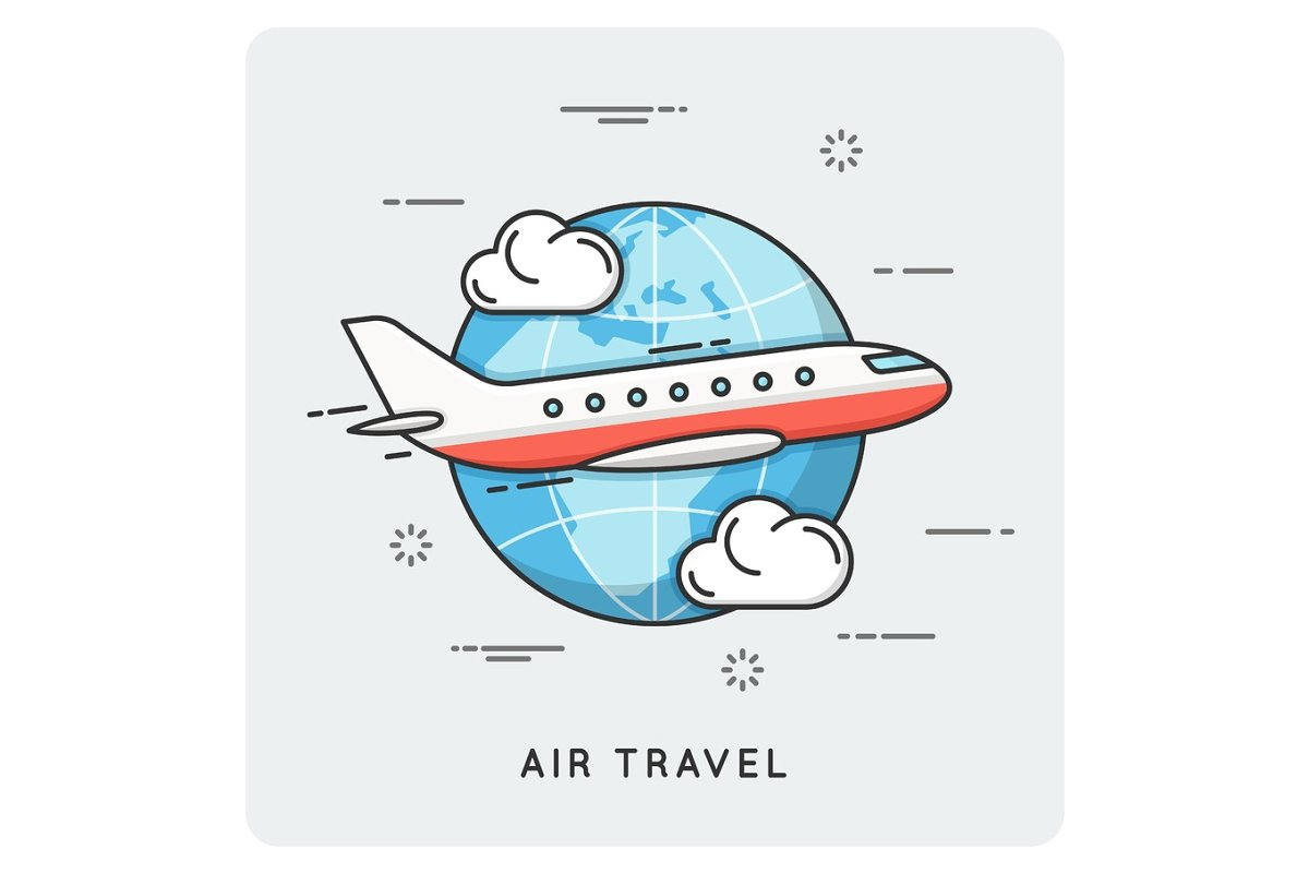 Air travel. Thin line concept.