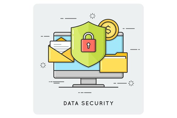Data security. Flat thin line concept.
