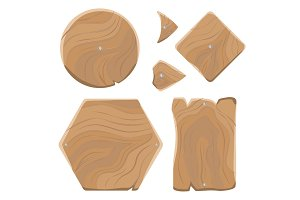 Wooden Planks of Various Shapes Illustrations Set