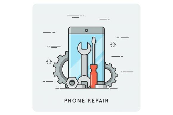 Phone repair. Flat thin line concept.