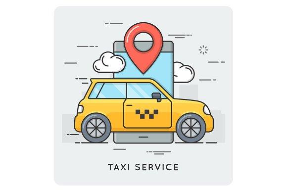 Taxi service. Thin line concept.