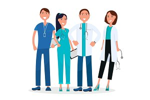 Four Medical Workers Standing and Smiling Graphic
