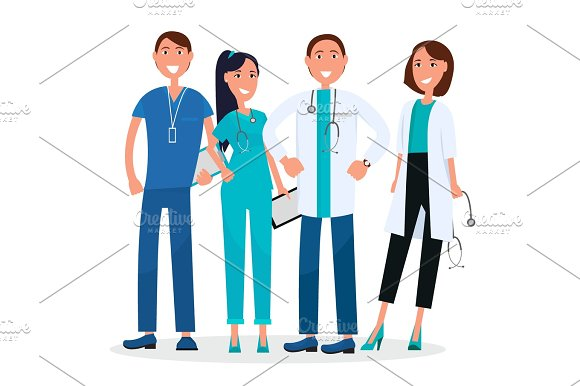 Four Medical Workers Standing and Smiling Graphic in Illustrations