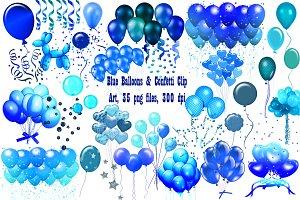 Blue Balloons & Confetti ClipArt
