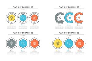 Set of flat style 3 steps timeline infographic templates.