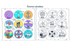 Summer Adventure Monochrome and Colorful Posters