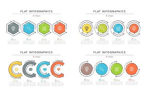 Set of flat style 4 steps timeline infographic templates.
