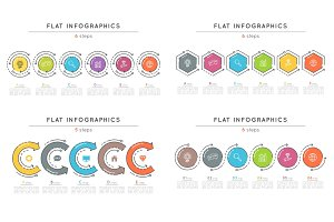 Set of flat style 6 steps timeline infographic templates.