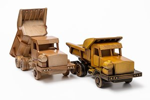Two car wooden toy model.