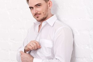 Male model in a shirt with cufflinks