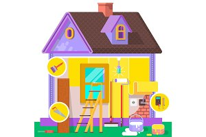 Renovation apartment. Home interior and repairs at home. Vector illustration in a flat style.